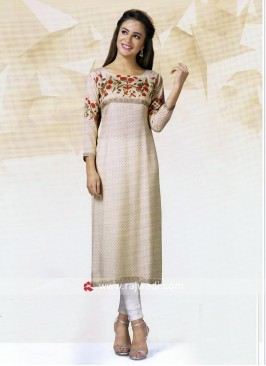 Crepe Silk straight Fit Casual Kurti