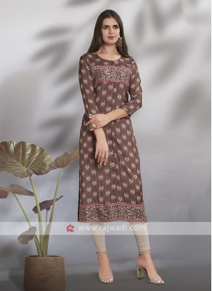 Crepe Silk straight Fit Printed Kurti
