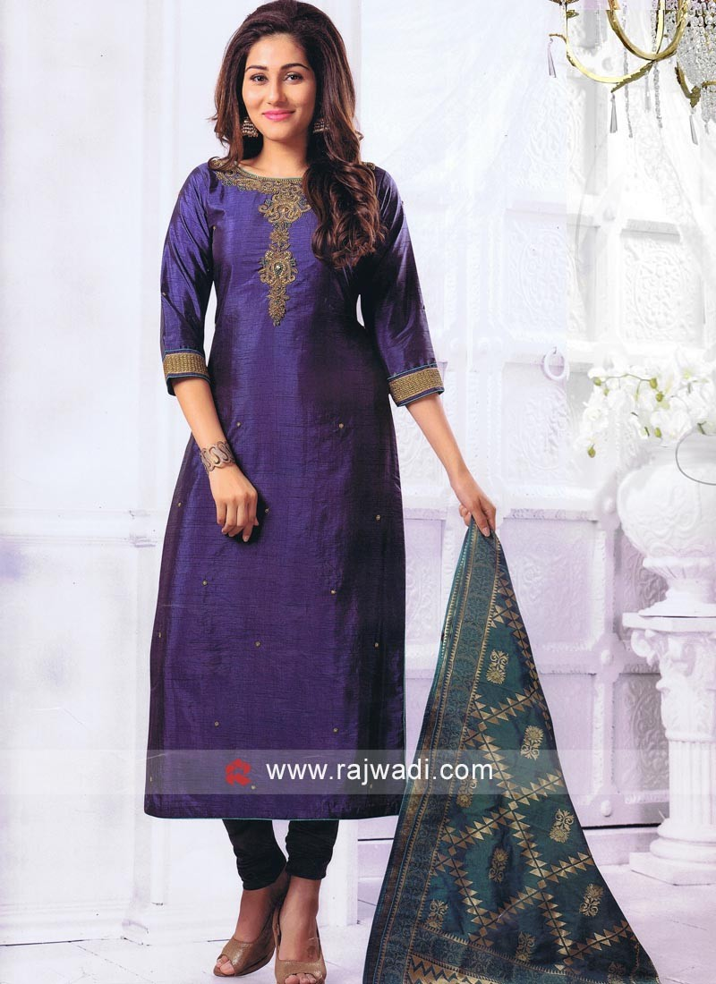 Crepe Silk Straight Suit in Blue