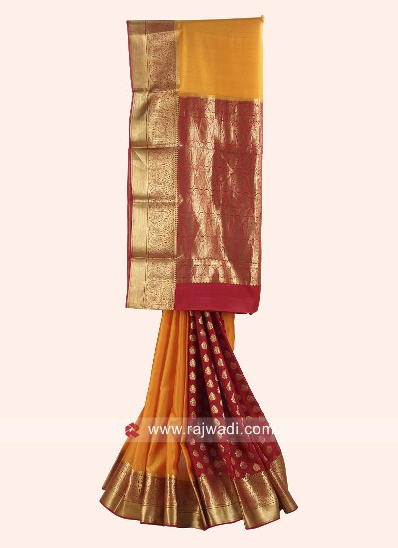 Crepe Silk Wedding Saree with Blouse