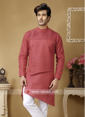 Crimosn Color Linen Kurta