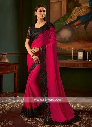 Crimson and black chiffon silk saree