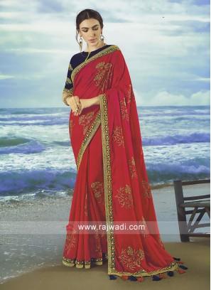 Crimson Art Silk saree with contrast blouse.