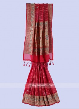 Crimson Banarasi Silk Saree