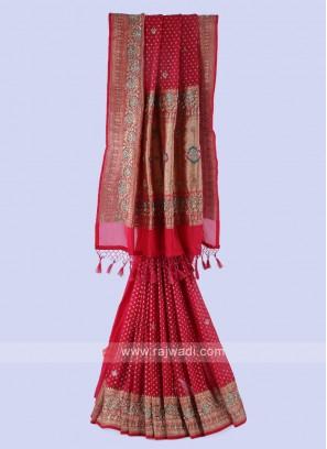Crimson Banarasi Silk Saree