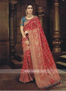 Crimson Color Banarasi Silk Saree