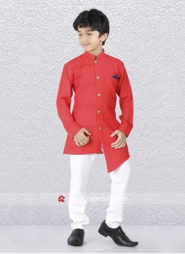 Crimson Color Indo Western For Kids