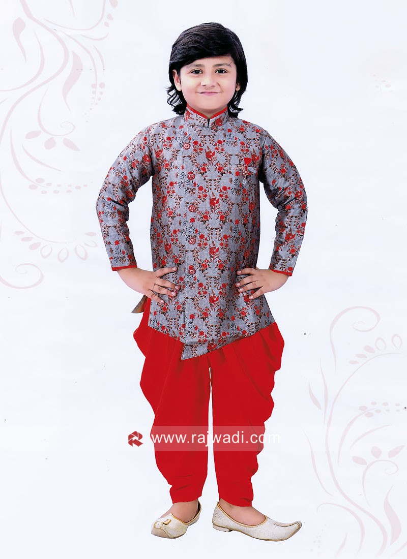 Grey Color Indo Western For Kids