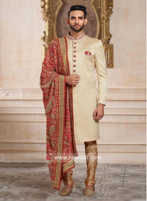 Stylish Cream Color Indo Western With Designer Dupatta