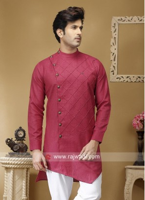 Crimson Color Kurta With Side Buttons
