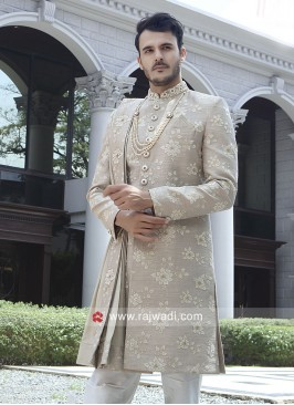 Flower Work Sherwani With Stylish Dupatta