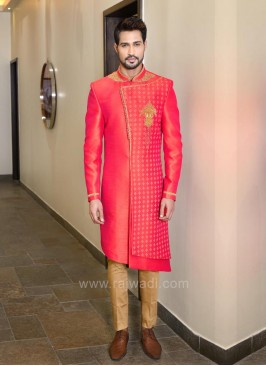 Crimson Color Zari Work Indo Western Sherwani