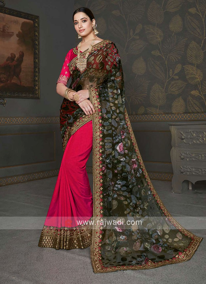 Crimson & Olive Designer Saree