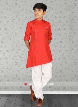 Rust Pathani Suit with Fancy Button