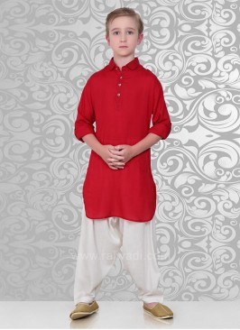 Crimson Pathani Suit with Fancy Button