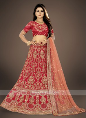 Crimson red bridal Lehenga Choli