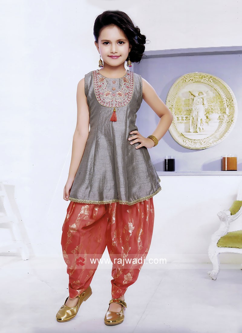 Crop Top with Patiala Bottom for Girls