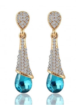 Crystalline Drops Aqua Dangler Earrings