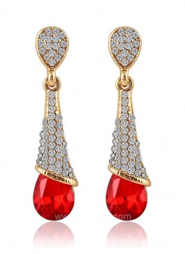 Crystalline Drops Red Earrings
