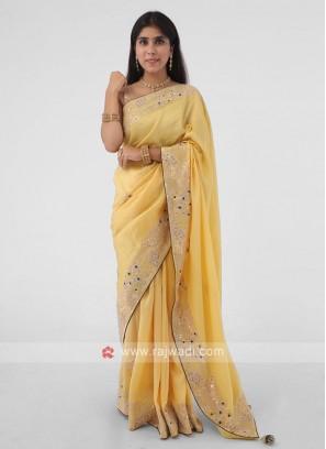 Cut Dana And Gota Patti Work Yellow Silk Saree