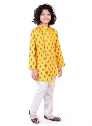 Cut Style Kurta Pajama In Yellow