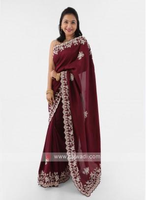 Cut Work Border Silk Saree In Wine Color