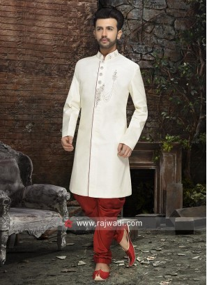 Art Silk Fabric White Indo Western