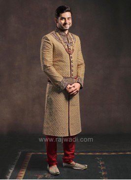 Cutdana and Zardozi Work Groom Sherwani