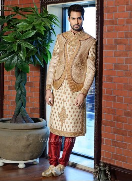 Cutdana Work Art Silk Sherwani
