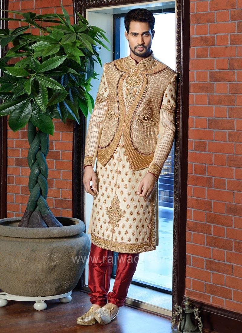 Cutdana Work Art Silk Sherwani