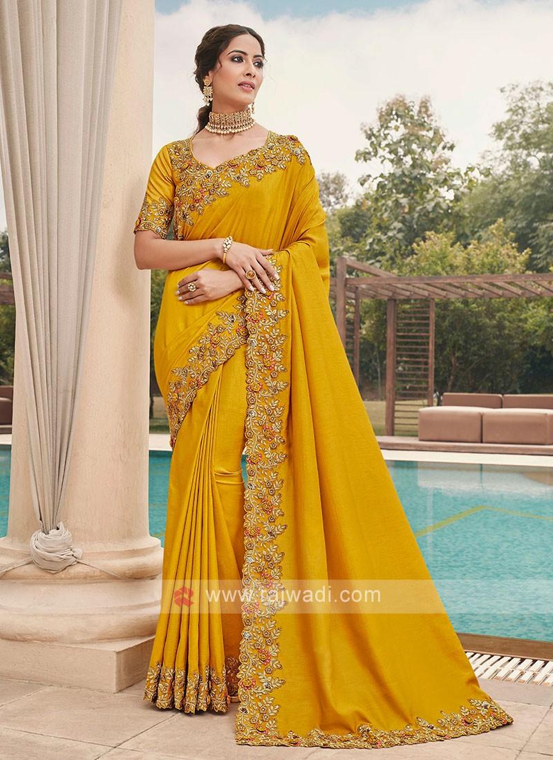 Cutwork Golden Yellow Saree