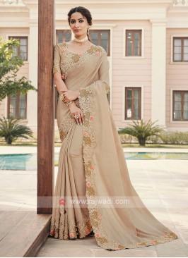 Cutwork Saree In Cream Color