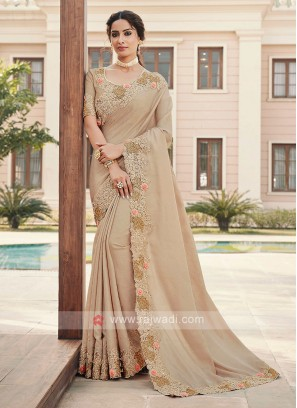 Cutwork Saree In Cream Color