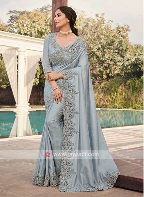 Cutwork Saree In Grey