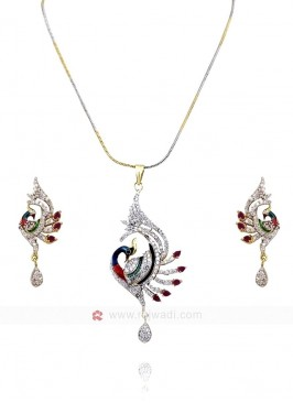 Dancing Peacock Drop Pendant Set