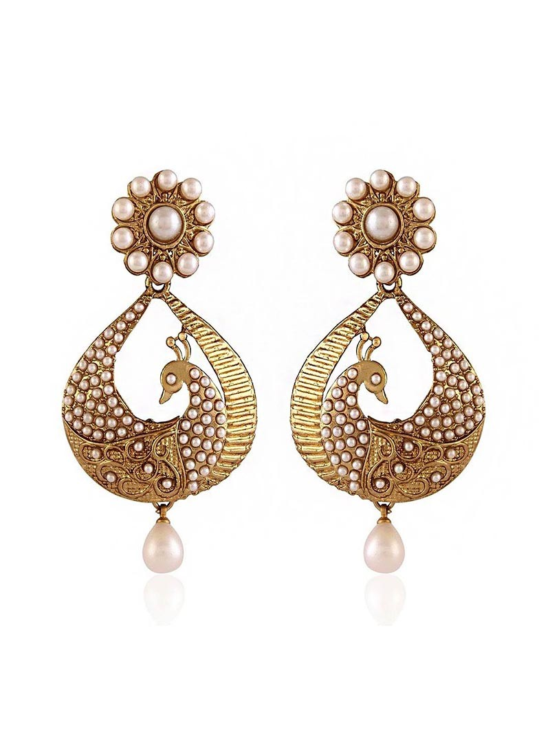Dancing Peacock Pearl Drop Earrings
