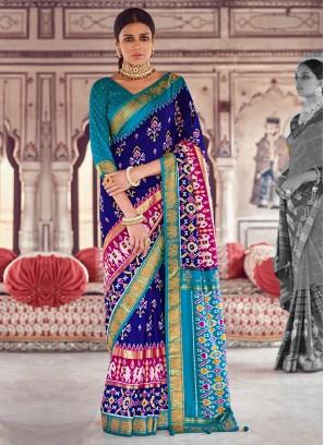 Dark Blue And Turquoise Color Art Dola Silk Saree