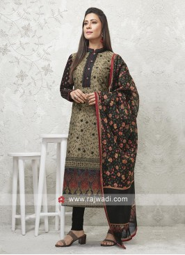 Dark Beige and Black Salwar Suit