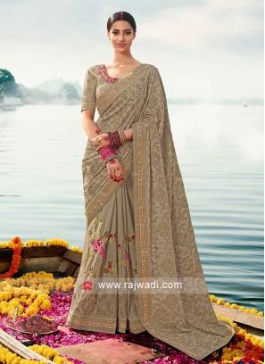 Dark Beige art silk saree with matching blouse.