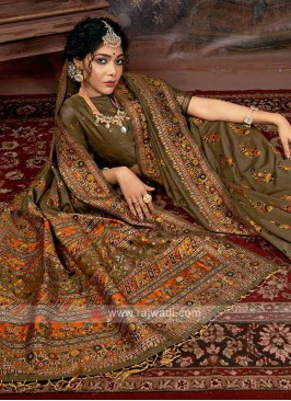 Dark Beige Banarasi Silk Saree