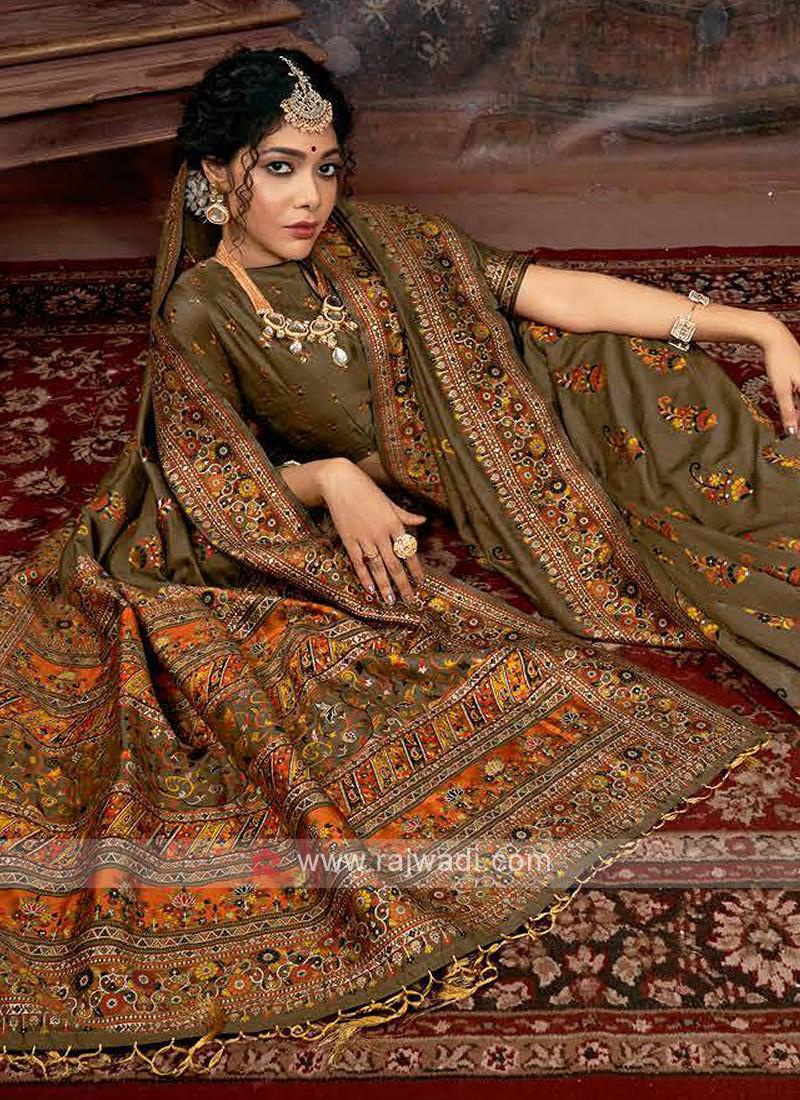 Dark Beige Banarasi Silk Saree