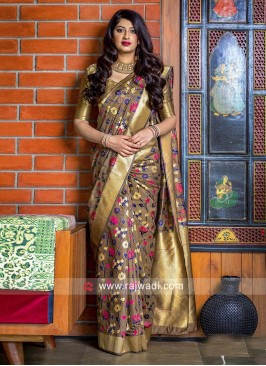 Dark Beige Banarasi Weaved Saree