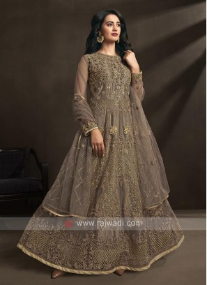 dark beige color anarkali suit