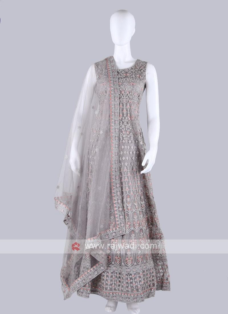 Dark Beige Color Anarkali Suit with dupatta