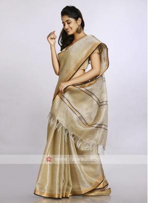 Dark beige color casual saree