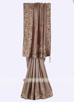 Dark beige color pure silk saree