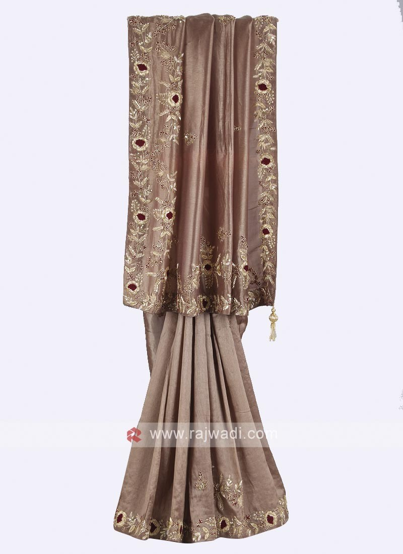 Dark beige color pure silk saree