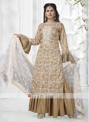 Dark Beige Colour Gharara Suit With Dupatta