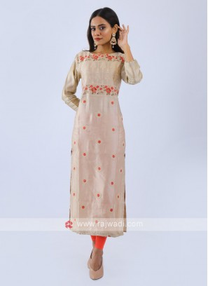 Dark Beige Embroidered Kurti