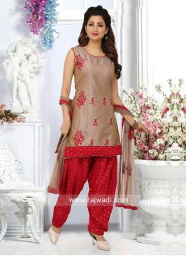 Dark Beige Embroidered Patiala Suit